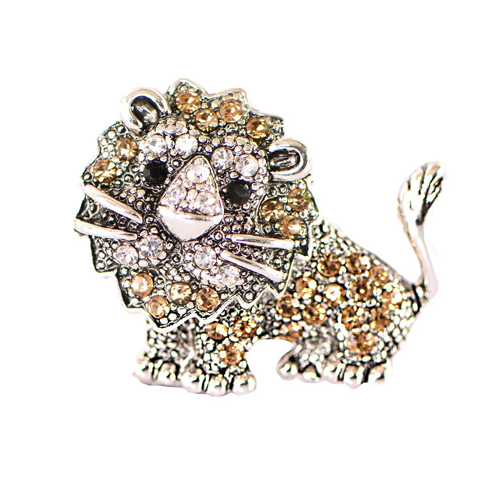 STRIPES Silver Crystal Diamond Lion Brooch Pins for Unisex