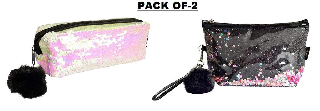 Black Glitter Sparkling Colorful Sequins Make up Pouch and White Mermaid Sequin Pencil Pouch