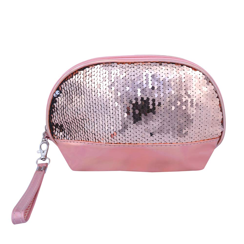 Shell Shape holographic with Sequence Cosmetic Bag(Rose Gold)
