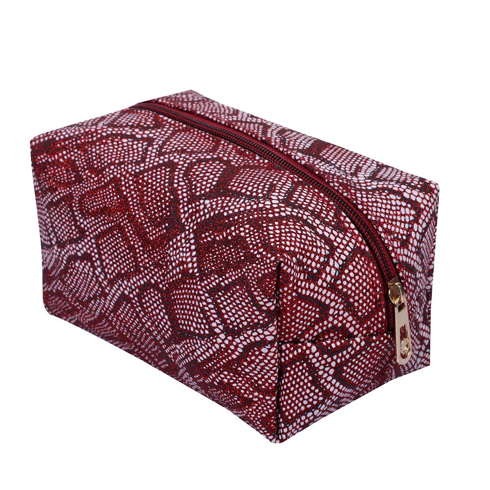 Snake Skin Design Cosmetic Bag(Maroon)