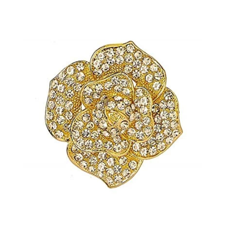 Crystal Flower Pin Design Saree Brooch