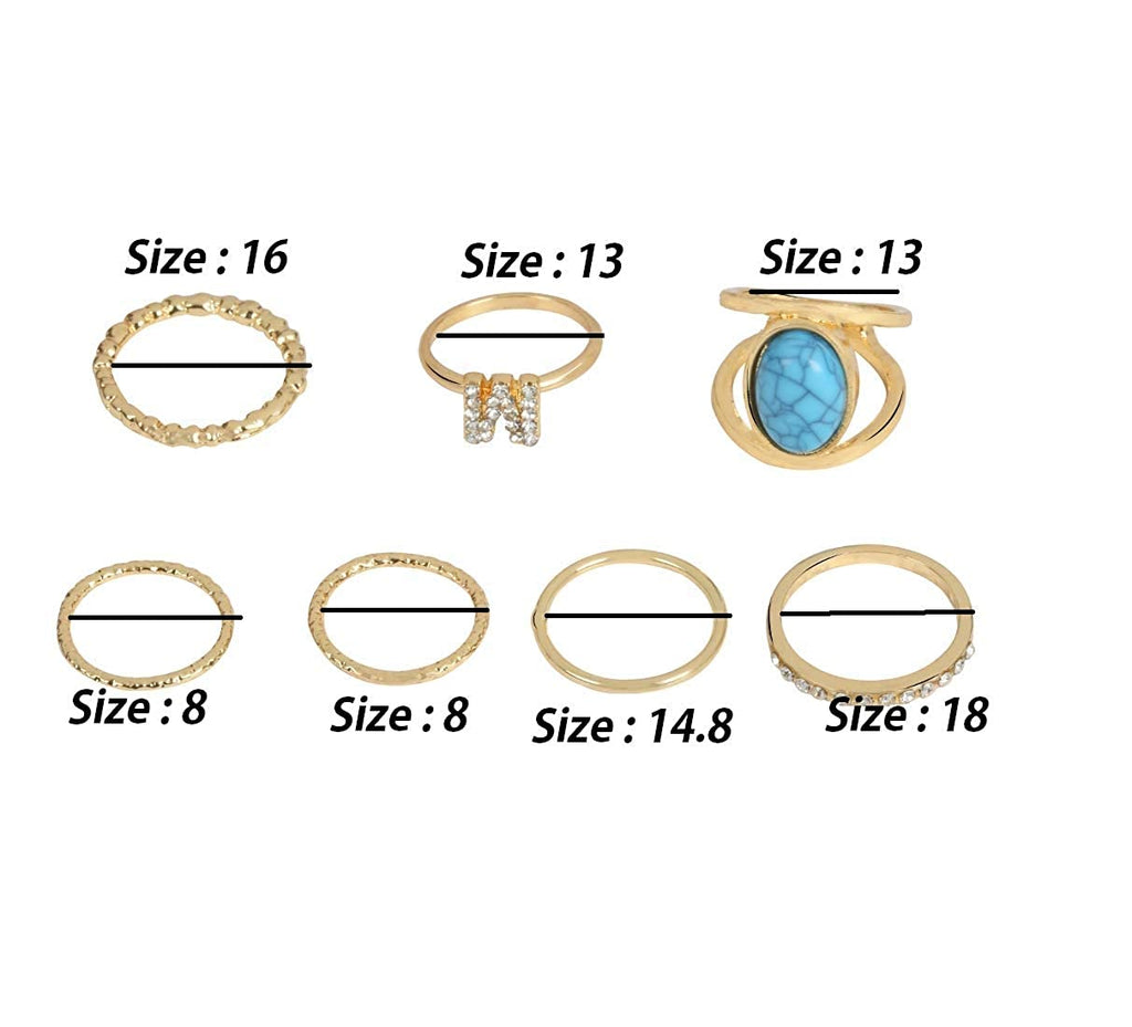 Gold Color 7 Piece Designer Midi Finger Ring