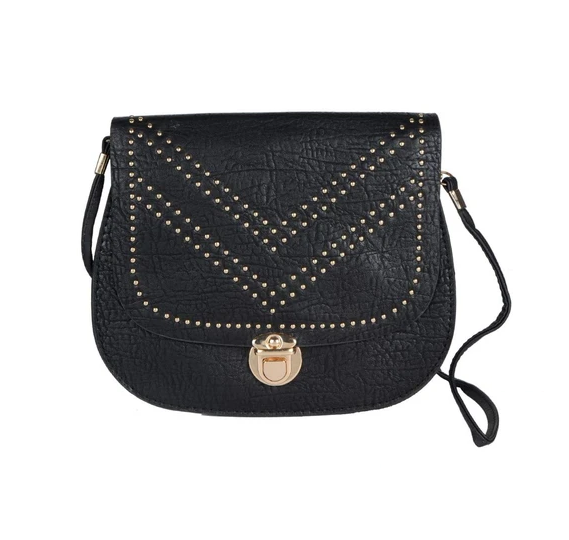 Fashionable Black Leather Sling Bag