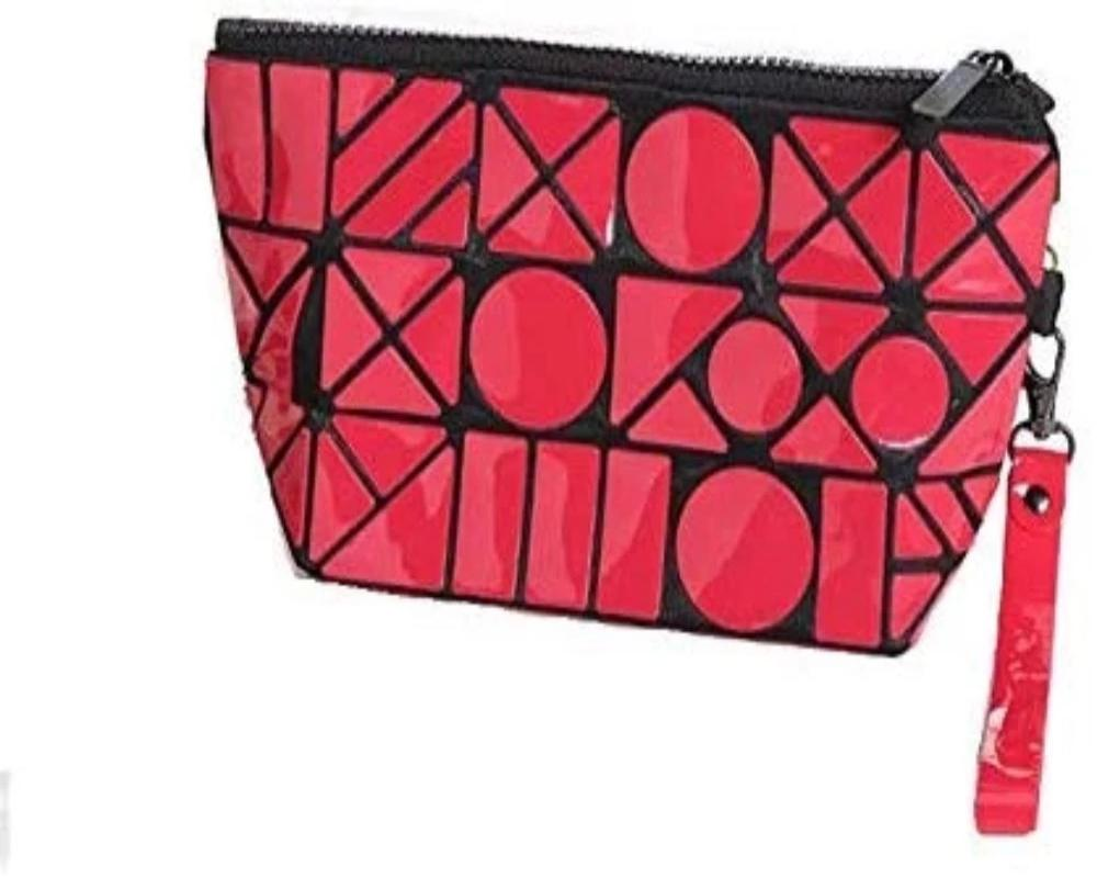 Glossy Red Color Cosmetic Bag PVC Geometric Design Toiletries Make up Pouch