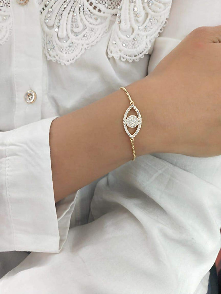 Golden Chain with Crystal Eye Bracelet