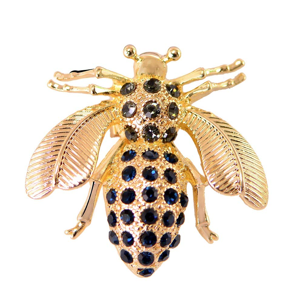 Black with Gold Cute Crystal Honeybee Brooch Pins