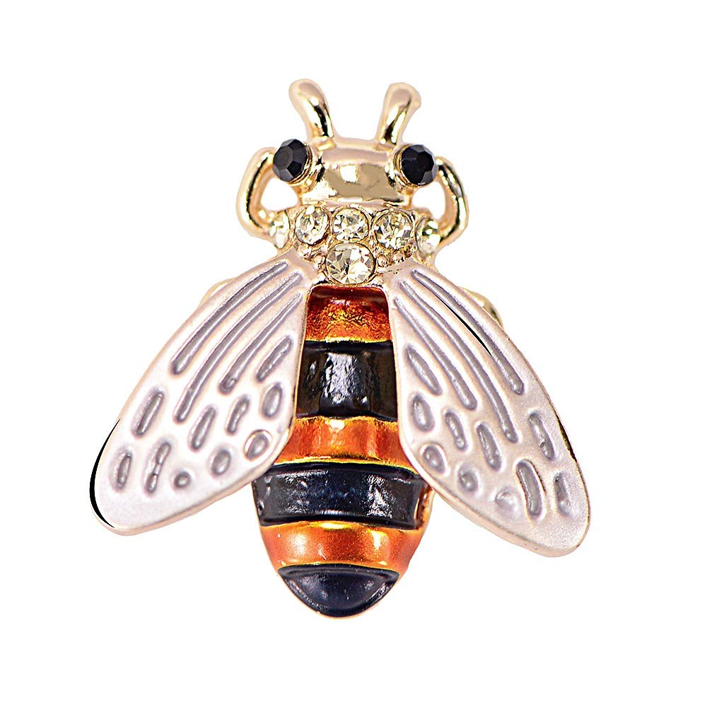 Golden Crystal Fly Brooch for Unisex