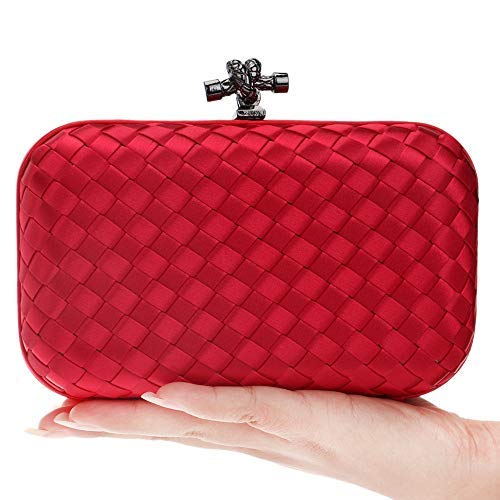Red Color Woven Style Clutch Purse