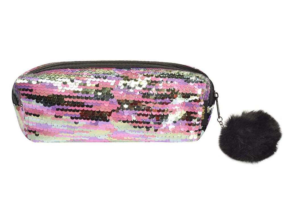 STRIPES Silver and Pink Reversible Sequins Makeup Pouch