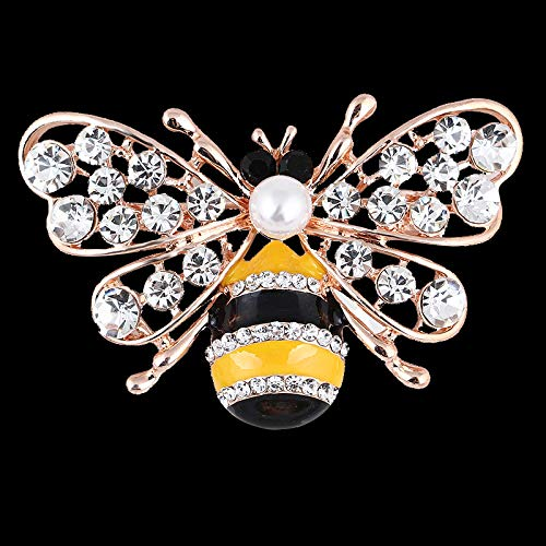 Yellow/Gold Crystal Pearl Bumble Bee Blazer Brooch Hijab Brooch for Unisex