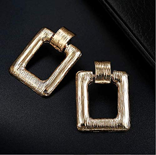 Matt Gold Plated Rectangle Shape Earrings