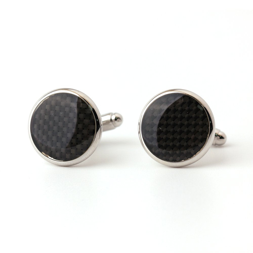 Silver and Black Round Shape Cuff Links.