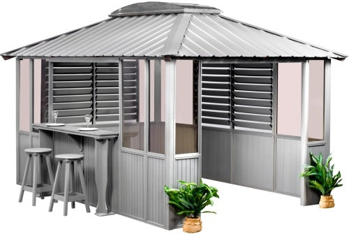 10 x 10 Grey Gazebo w/ Bar & 2 Louver Sections & Lower Wall Panels