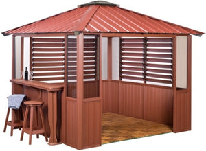 10 x 10 Red Gazebo w/ Bar & 2 Louver Sections & Lower Wall Panels