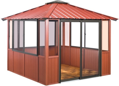 10 x 10 Red Gazebo Enclosed w/ 3 Sliding Windows & Sliding Patio Door