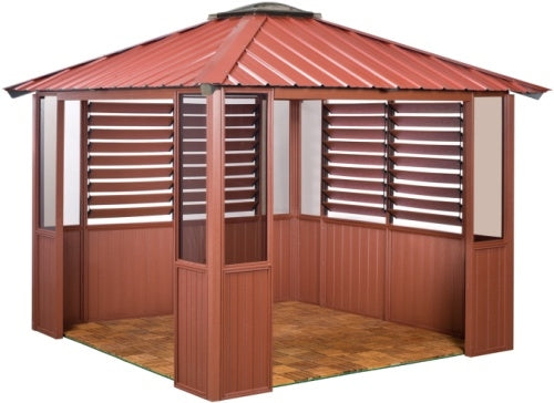 10 x 10 Red Gazebo w/ Lower Wall Panels & 2 Louver Sections
