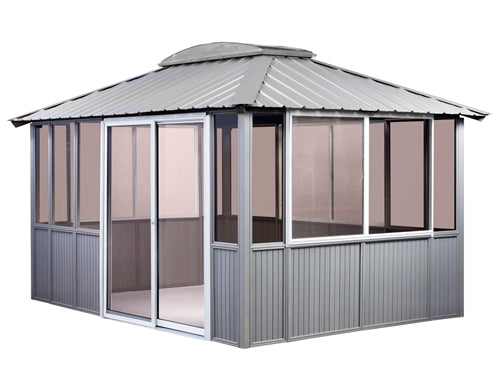 10 x 14 Gray Gazebo Enclosed with Sliding Door on Left
