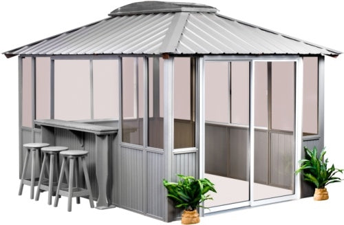 10 x 14 Gray Gazebo w/ Bar & 3 Bar Stools on Left & Sliding Door on Right