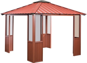 10 x 14 Red Gazebo w/ 4 Sides Open