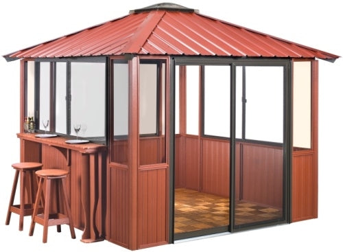 10 x 14 Red Gazebo Enclosed Unit w/ Bar & Interlocking Floor Tile