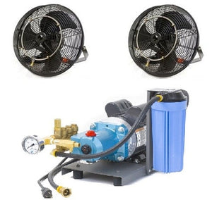 "2 18"" Fan Misting Cooling Kit with 1000 PSI Mist Pump"