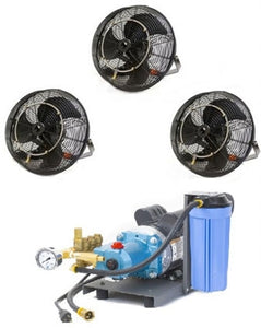 "3 18"" Fan Misting Cooling Kit with 1000 PSI Mist Pump"