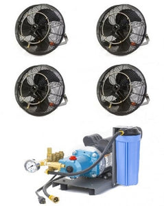 "4 18"" Fan Misting Cooling Kit with 1000 PSI Mist Pump"