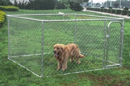 Dog Kennel 7 1/2' x 7 1/2' x 4' Box Kennel Chain Link Dog / Pet System