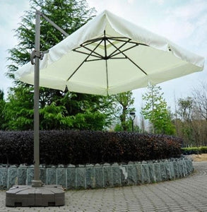 Brand New 10' Offset Tilt Patio Umbrella Sun Shade With Base - Cream
