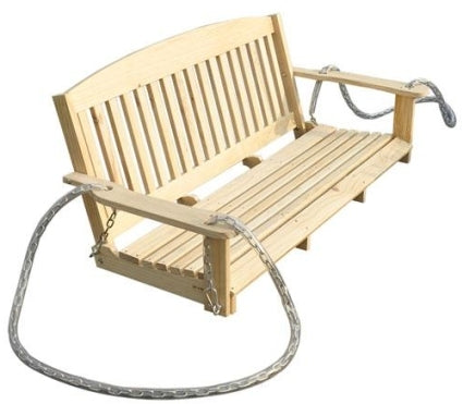High Quality 5-foot Wood Handmade Porch Swing with Hang Chain