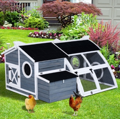 Pawhut Deluxe Backyard Chicken Coop Barn with Curved Outdoor Run - D51-080