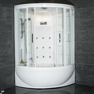"Ariel AmeriSteam White Corner Steam Shower 56"" x 56"" x 87"" - ZAA216"