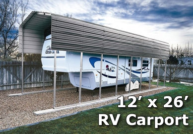 12' x 26' RV Steel Metal Carport Cover w/ Extra Panels - Installation Included