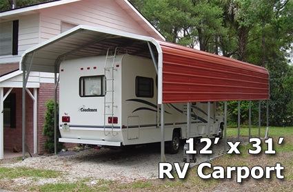 12' x 31' Steel Metal RV Carport Storage Cover - Installation Included