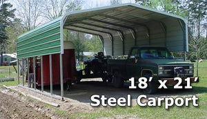 18' x 21' Steel Carport Cover Garage w/ Extra Panels - Installation Included