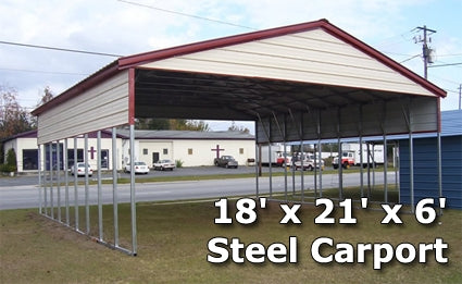 18' x 21' x 6' Steel Carport Garage Storage Building w/ Boxed Eaves - Installation Included