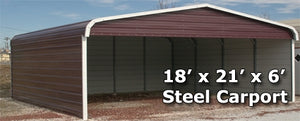 18' x 21' x 6' Steel Carport Garage Storage Building w/ Sides - Installation Included