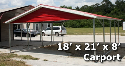 18' x 21' x 8' Two Bay Steel Carport Garage Storage Building - Installation Included