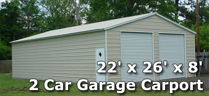 22' x 26' x 8' Two Car Steel Metal Garage Carport - Installation Included