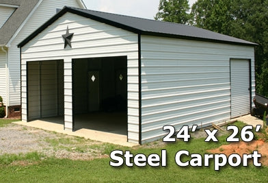 24x26 Fully Enclosed Steel Garage Carport - Installation Included