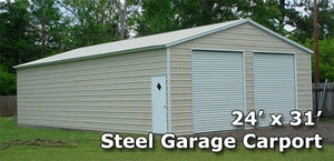 24' x 31' Fully Enclosed Two Door Carport Garage - Installation Included