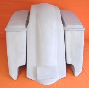"Harley Davidson 5"" Extended Stretched Saddlebags With Cut Outs Fender + Lids"