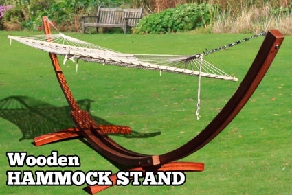 High Quality Cypress Wooden Curved Roman Arch Hammock Stand W/Double Wide Hammock