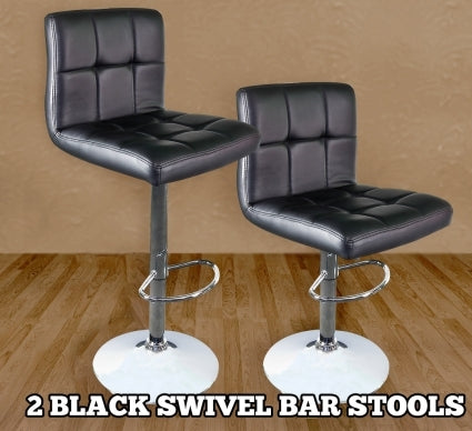 High Quality Adjustable Height Black Padded Bar Stools - Set of 2
