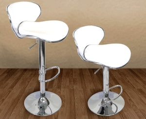 High Quality Adjustable Height White Faux Leather Bar Stools - Set of 2