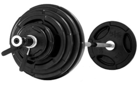 Rubber Coated Olympic Weight Set with Olympic Bar
