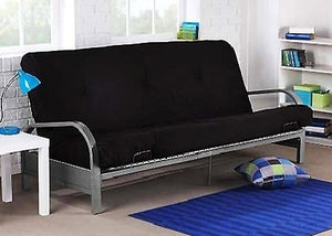 Brand New Metal Futon Sofa Bed Couch with Black Full Size Mattress