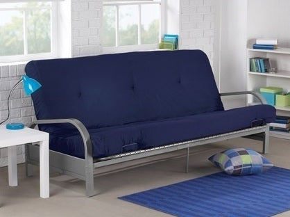 Brand New Metal Futon Sofa Bed Couch with Blue Full Size Mattress
