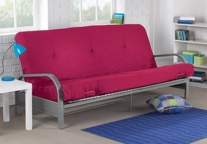 Brand New Metal Futon Sofa Bed Couch with Pink Full Size Mattress