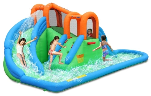 Island Inflatable Water Park with Basketball Hoop & Pool